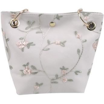 LoveAloe女性ハンドバッグ夏ビーチレース刺繍入りバケットバッグ大容量旅行カジュアルトートバッグ、白い