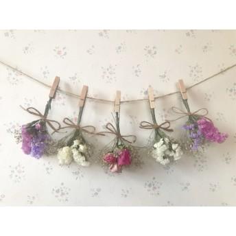 3種のピンクバラとパステルスターチスのふんわりドライフラワーガーランド