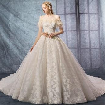 ウェディングドレス 花嫁衣装 レディースワンワードショルダーウェディングドレスレース半袖レースの床の長さのウェディングドレス 結婚式 演奏会 (色 : White, Size : L)