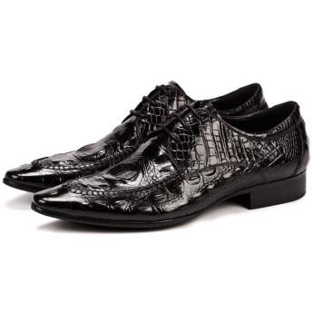 [Tyannan] ビジネスシューズ メンズ 高級レザー クロコダイルメンズシューズ尖った靴メンズファッションイングランドレザービジネスシューズ 軽量 通気性 冠婚葬祭 (Color : Black, Size : 43)