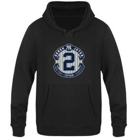 MLB New York Yankees On Field AC Derek Jeter ベルベットのフード付きのセーターポケット付き ユニセックスプラス 付き巾着パーカープルオーバースウェットシャツ プラス パーカー スポーツフーディプルオーバー L