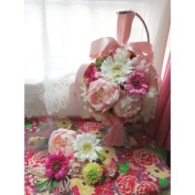 お正月セール シャクヤクベビーピンク&ガーベラのボールブーケ 和装ブーケ 結婚式 Wedding