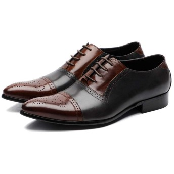 [Tyannan] ビジネスシューズ メンズ 高級レザー 革の靴 男性 ビジネスドレス 英国の男性の靴 色の結婚式の 結婚式 軽量 通気性 冠婚葬祭 (Color : Coffee with Gray, Size : 44)