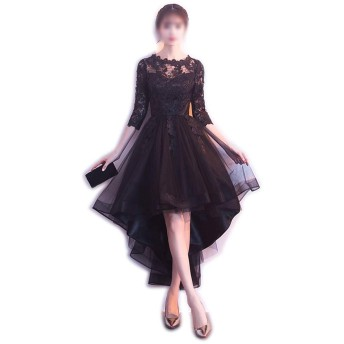 レディースドレスノースリーブラウンドネックレースメッシュパーティーディナーブラックイブニングドレス (Color : Black-A, Size : XL)