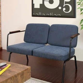 ソファ 2人掛け 幅116cm スチールフレーム 合皮 ( ソファー 椅子 チェア )
