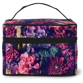化粧ポーチ メイクボックス カラフルな花 綺麗 コスメボックス 化粧バッグ 大容量収納ケース トラベルバッグ 小物入れ 収納ボックス 洗面用具入れ 出張 旅行 家用 收納抜群 ファスナー