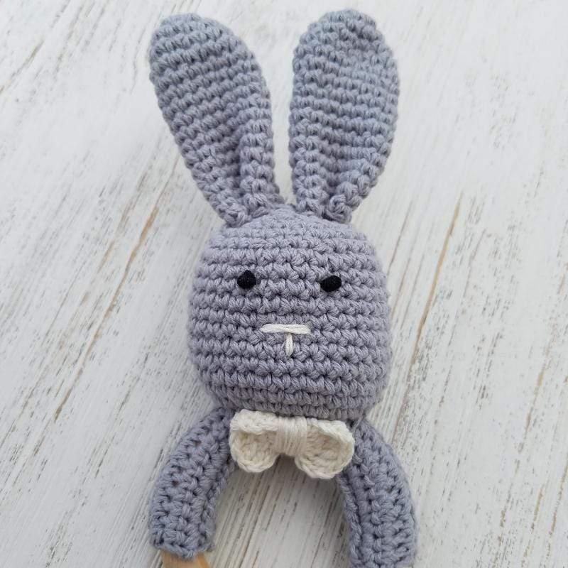 天然原木 手工 嬰幼兒兔兔造型手搖鈴固齒玩具 (小兔子) 灰色