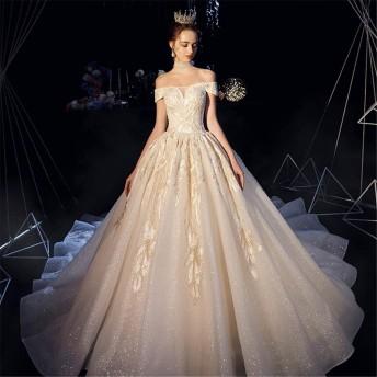 ウェディングドレス 花嫁衣装 セクシーな女性のシフォンワンワードカラーの肩のストラップの床の長さのウェディングイブニングドレス 結婚式 演奏会 (色 : Champagne, Size : L)