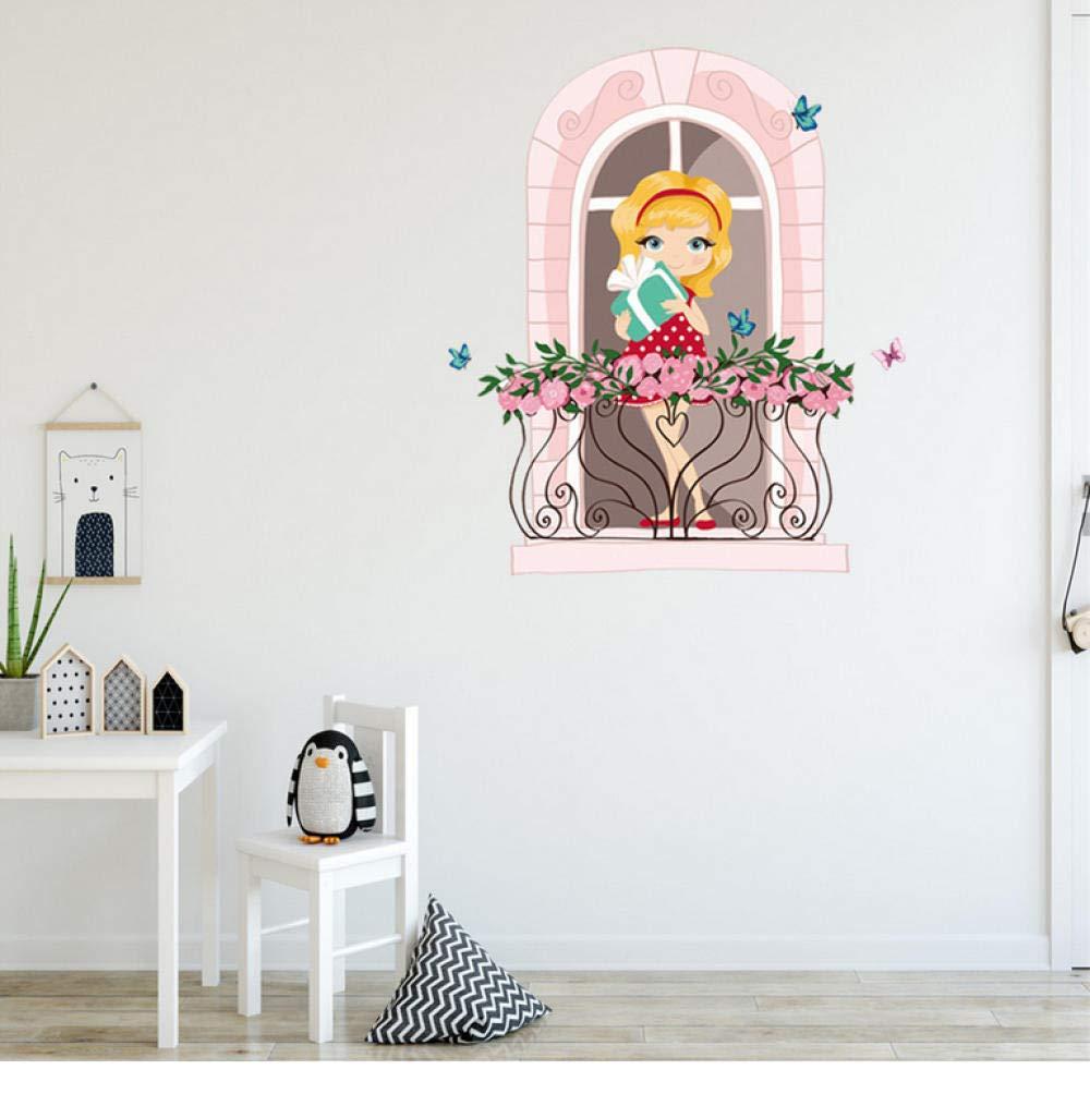 Wangxiaojie 壁紙ステッカーピンクかわいい女の子印刷diyウォール
