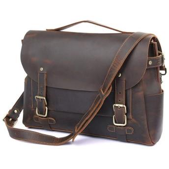 メンズショルダーバッグレザーコンピューターメッセンジャーバッグ悪いバッグレトロアウトドア乗馬バッグ ビジネスバッグ (色 : DARK BROWN, サイズ : XL)