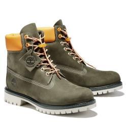 Timberland 男款軍綠色磨砂革經典橘領6吋靴A2BB6A58