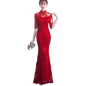 [YUANYUAN]秋と冬の新しい結婚式のチャイナドレス、赤いロングフィッシュテールドレス、宴会スリムslim身トースト (レッド,L)