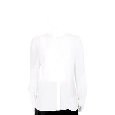 Max Mara 白色荷葉細節絲質長袖襯衫