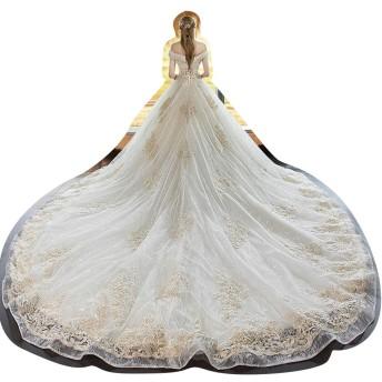 冬2019年花嫁のロングテールの女性のウェディングドレス (Design : Falt, Size : L)