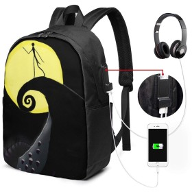 ハッピーハロウィン バッグ 17インチ USB充電ポート付き バックパック 調節可能なショルダーストラップ アウトドアリュック 登山リュック 季節新品 多機能 通学 通勤 出張 旅行用 大容量 黒 メンズ レディース通用