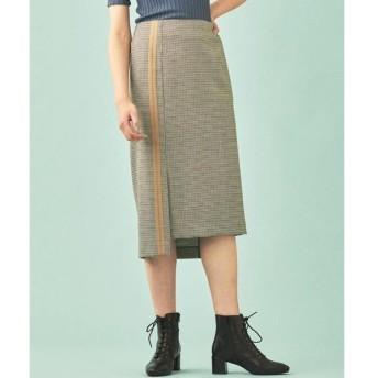 TOMORROWLAND / トゥモローランド ウールハウンドトゥース アシンメトリーIラインスカート
