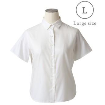 NEWYORKER L / 【イージーケア】コットンレーヨンヘリンボーン 半袖シャツ(スーツインナー対応)/大きめサイズ