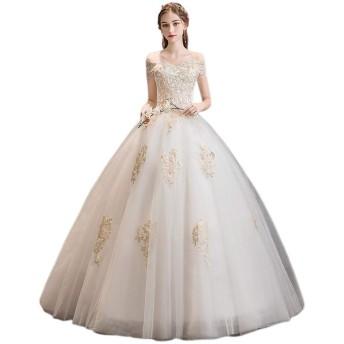 ウェディングドレス 花嫁衣装 レディースブライダルドレス末尾のプリンセスホワイトヴィンテージラインのレースの夏のウェディングドレス 結婚式 演奏会 (色 : White, Size : S)