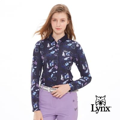 【Lynx Golf】女款吸濕排汗滿版可愛印花長袖POLO衫-深藍色
