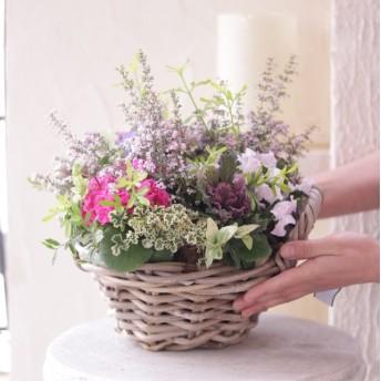 春らんまんバスケットの花束植え