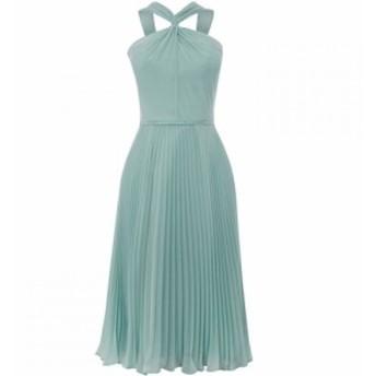 オアシス Oasis レディース ワンピース ミドル丈 ワンピース・ドレス Twist Neck Chiffon Midi Dress Green