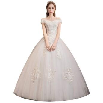 ウェディングドレス 花嫁衣装 レディースセクシーなレースのヴィンテージチュールのウェディングドレス花嫁のためのレースのアップリケのウェディングドレス 結婚式 演奏会 (色 : White, Size : M)