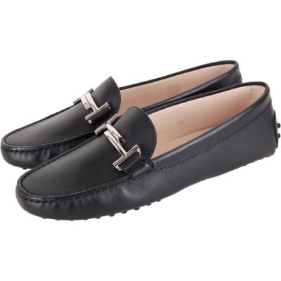 TOD'S Double T 金屬設計休閒豆豆鞋(女鞋/黑色)