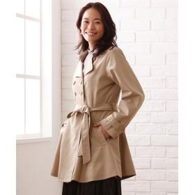 ウエスト切替フレアトレンチコート【REINETTE】 (大きいサイズレディース)コート, plus size coat, 大衣