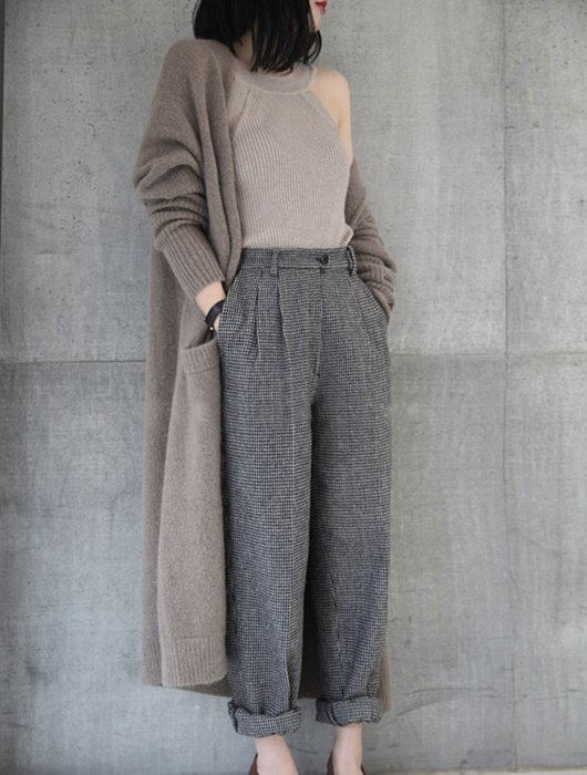漂亮小媽咪 韓系外套 【C5351】 開襟 長袖 針織毛衣 針織衫 長版毛衣 針織外套 孕婦 孕婦裝