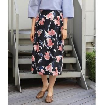 TOMORROWLAND / トゥモローランド ナイトフラワープリント タックIラインスカート