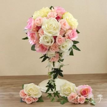 ウェディングブーケ ピンク&ホワイト フランシス キャスケードブーケ 造花 結婚式 海外挙式 前撮り B_0191