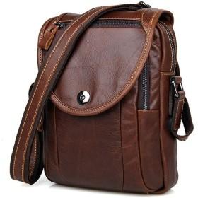 メンズレザースモールバッグレザーレトロメンズショルダーバッグアウトドア乗馬バッグ ビジネスバッグ (色 : Coffee, サイズ : S)