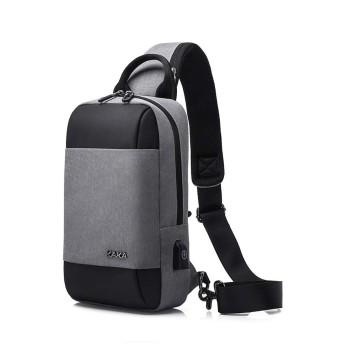 メンズカジュアルバッグチェストスポーツ走行防水メッセンジャーバッグオックスフォードバッグ ビジネスバッグ (色 : Grey, サイズ : M)