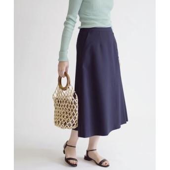 SHIPS for women/シップスウィメン ボタンアシンメトリースカート◇ ネイビー 36