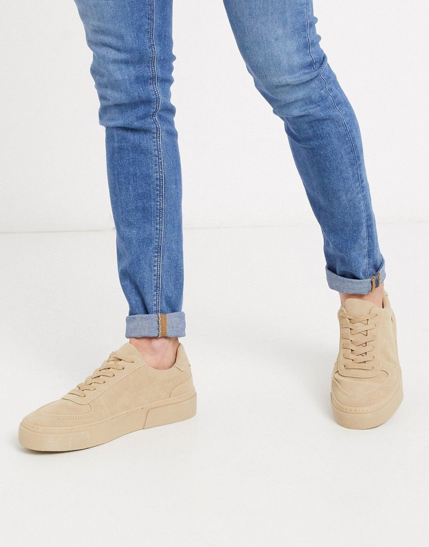 ASOS DESIGN trainers in stone with chunky sole-Neutral