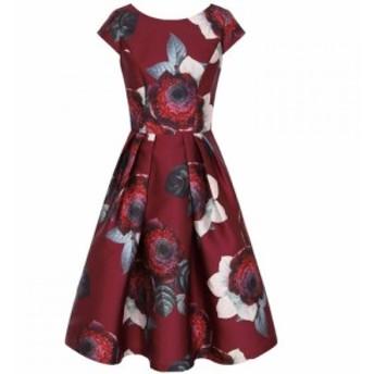 チチ Chi Chi レディース パーティードレス ワンピース・ドレス Floral Print Dip Hem Dress Burgundy
