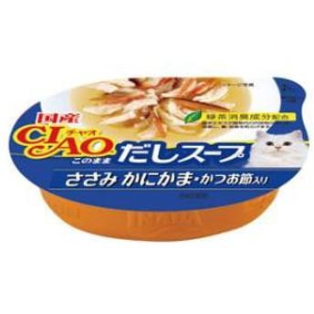 いなばペットフード チャオカップ このままだしスープ ささみ かにかま・かつお節入り 60g CIAO【返品種別B】