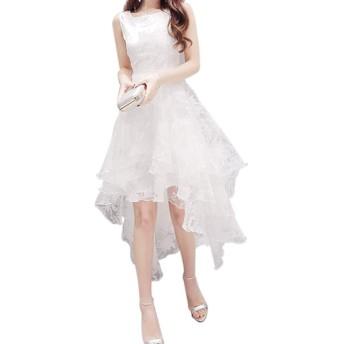 ACHICOO パーティードレス ワンピース レディース 不規則なドレス ノースリーブ ウエストをきつく締め 女性 花嫁介添人 通気性 パーティー 結婚式 白 S