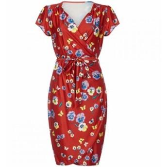 ユミ Yumi Curves レディース ワンピース ラップドレス ワンピース・ドレス Pansy Print Wrap Dress Red