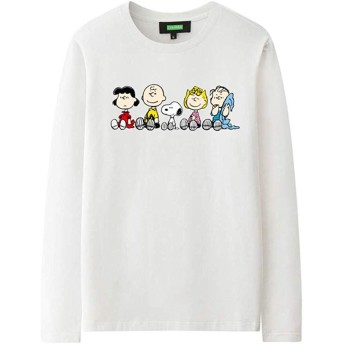 HINSKENNY Snoopy スヌーピー PEANUTS 長袖 Tシャツ メンズ レディース 丸襟 プリント 人気 柔らかい 男女兼用