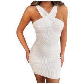 女性 ファッション セクシー 無地 ホルター 弾力性 ヒップ ノースリーブ ミニ ニット ワンピース、パーティー ドレス シャツワンピース ミニ ボディコン ワンピース、おしゃれ ワンピース レース ドレス 上品 ファッション フォーマルウェア (ホワイト, S)