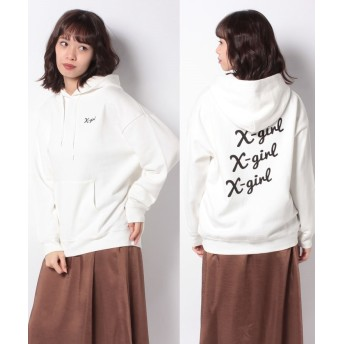 (X-girl/エックスガール)LOGO SWEAT HOODIE/レディース ホワイト