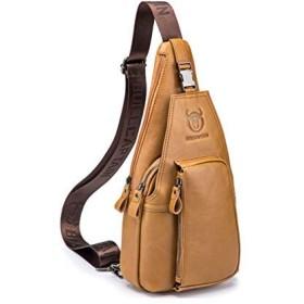 ボディバッグ ワンショルダー メンズバッグ 鞄 斜め掛け チェストバッグ カッコいい アウトドア カジュアル 牛本革 コンパクト 多機能 肩掛け 斜めがけ (カーキ)