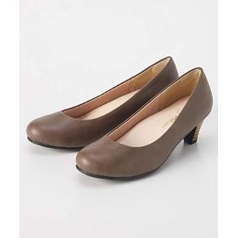 [ニッセン] 靴(シューズ) ラウンドトゥヒールパンプス(低反発中敷)(選べるワイズ) チャコールブラウン 24.0cm/4E