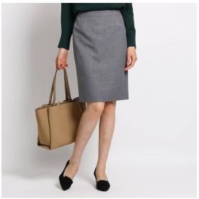 【インディヴィ/INDIVI】 [S]【マシンウォッシュ/UV】バックスリットツイルタイトスカート
