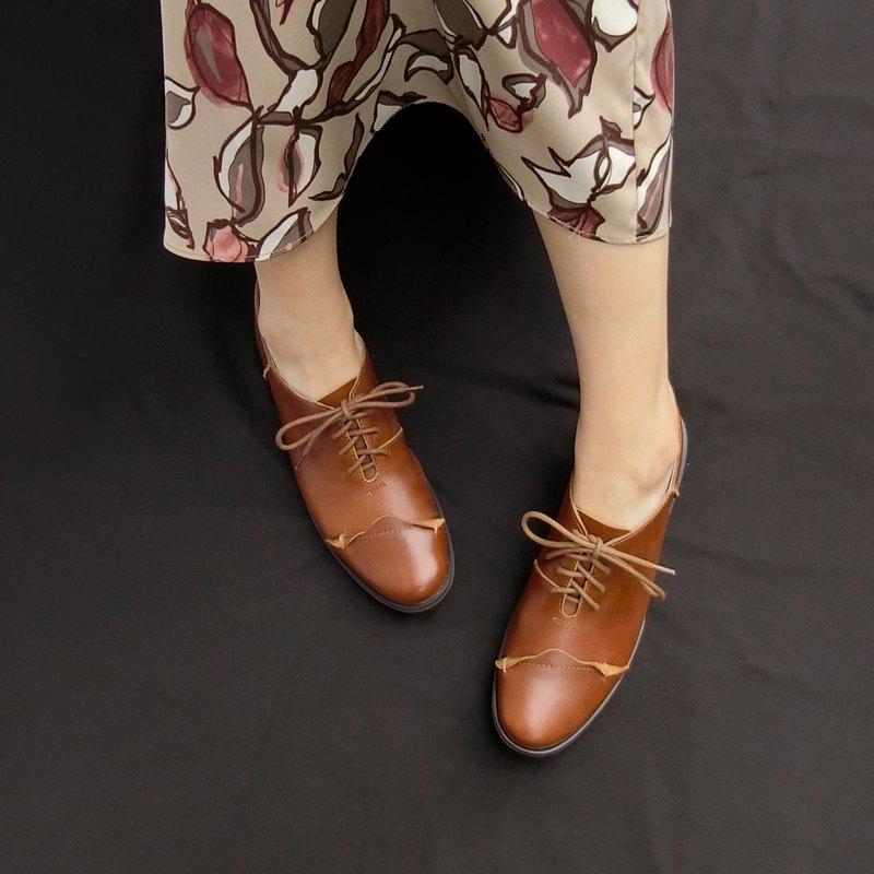 花邊真皮牛津鞋 ||夢遊巴塞隆納 深棕|| 8280