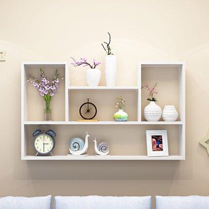 壁櫃 創意牆上置物架免打孔書架客廳背景牆壁掛架吊櫃牆壁裝飾架『CM895』