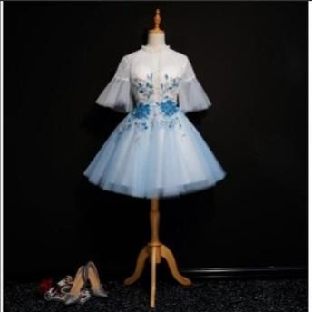 花嫁 二次会 ドレス ウェディングドレス ミニ グレー カラードレス 結婚式 コンサート パーティードレス ミニドレス 半袖 オフショルダー