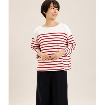 (I.T.'S. international/イッツインターナショナル)パネルボーダーバスクTシャツ/レディース レッド