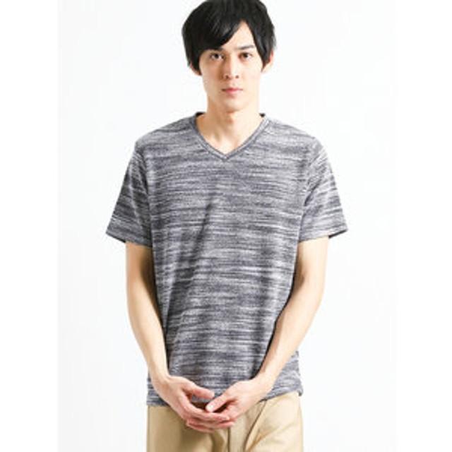 【m.f.editorial:トップス】接触冷感 タイガー杢パイルVネック半袖Tシャツ